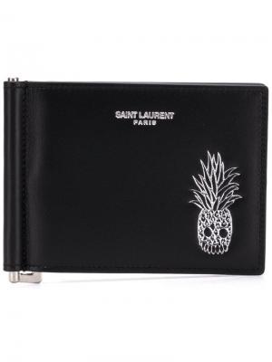Зажим для денег с тисненым логотипом Saint Laurent. Цвет: черный