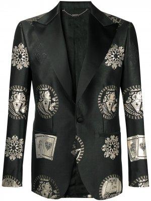 Однобортный пиджак Casino Billionaire. Цвет: черный