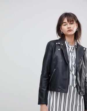 Кожаная куртка femme-Черный Selected
