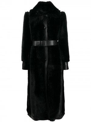 Однобортная шуба из шерпы Stella McCartney. Цвет: черный