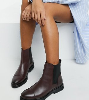 Бордовые кожаные ботинки челси на плоской подошве Wide Fit-Красный Dune