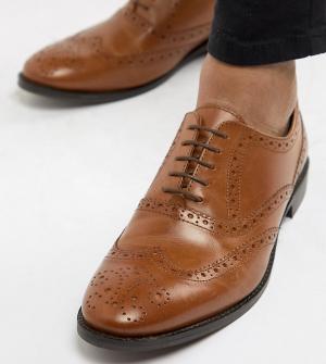 Светло-коричневые кожаные броги для широкой стопы ASOS DESIGN. Цвет: рыжий