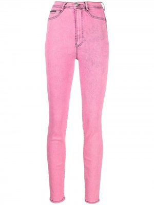 Джеггинсы с завышенной талией Philipp Plein. Цвет: розовый