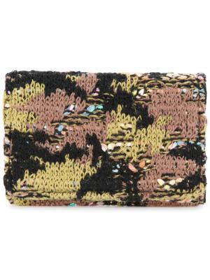Трикотажная твидовая визитница с камуфляжным принтом Coohem. Цвет: зеленый