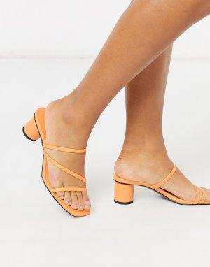 Оранжевые босоножки на каблуке -Оранжевый Monki