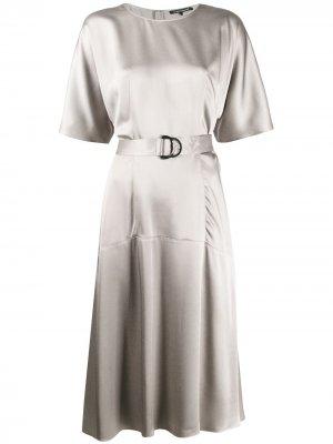 Расклешенное платье миди с поясом Luisa Cerano. Цвет: серый