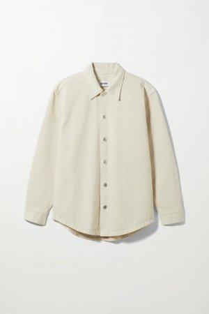 Джинсовая рубашка Calam Weekday. Цвет: белый