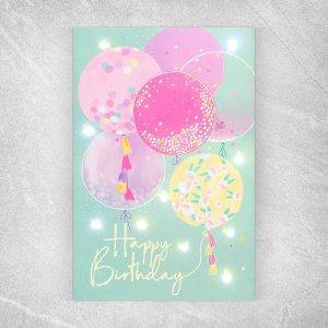 Открытка с гирляндой happy birthday, 14 х 21 0,3 см Дарите Счастье