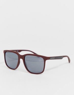 Квадратные солнцезащитные очки в коричневой оправе -Коричневый Emporio Armani