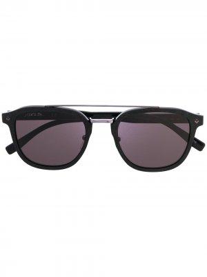 Солнцезащитные очки в квадратной оправе с логотипом Lacoste. Цвет: черный