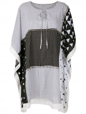 Короткое платье с бахромой Amir Slama. Цвет: белый