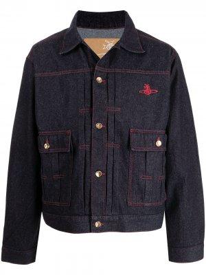 Джинсовая куртка с графичным принтом Vivienne Westwood. Цвет: синий
