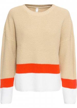 Пуловер bonprix. Цвет: бежевый