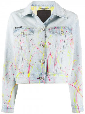 Укороченная джинсовая куртка Philipp Plein. Цвет: синий