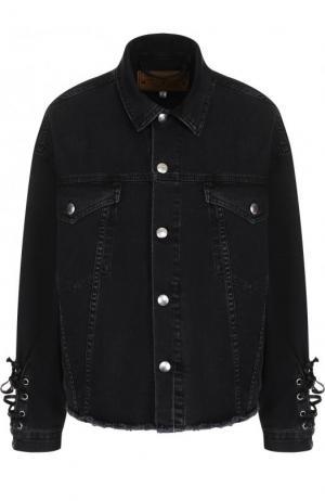 Джинсовая куртка с потертостями и шнуровкой MCQ. Цвет: черный