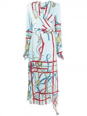 Платье с запахом и принтом LANVIN. Цвет: синий