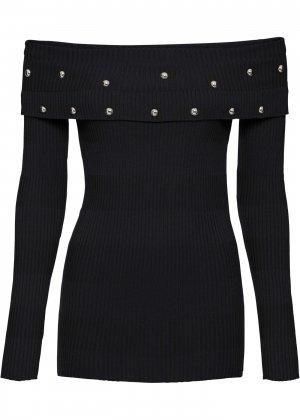 Пуловер с открытыми плечами bonprix. Цвет: черный