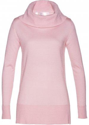 Пуловер класса Премиум с широким высоким воротом bonprix. Цвет: розовый