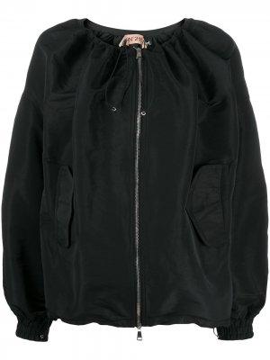 Куртка-бомбер с кулиской на воротнике Nº21. Цвет: черный