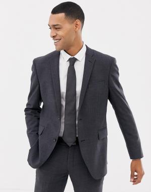 Серый зауженный пиджак в клетку Esprit