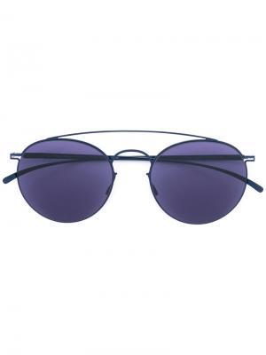 Солнцезащитные очки в круглой оправе Mykita. Цвет: синий