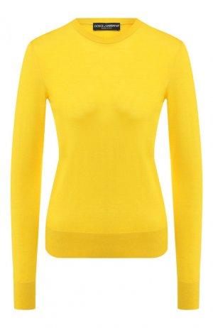 Пуловер из смеси кашемира и шелка Dolce & Gabbana. Цвет: желтый