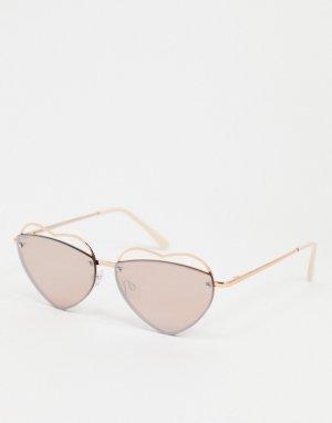 Солнцезащитные очки в форме сердца золотисто-розовой оправе с розовыми стеклами -Золотистый AJ Morgan
