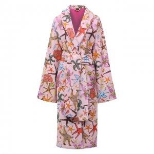 Хлопковый халат Versace. Цвет: розовый