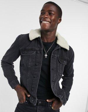 Черная выбеленная джинсовая куртка с воротником из искусственного меха светло-бежевого цвета -Черный ASOS DESIGN
