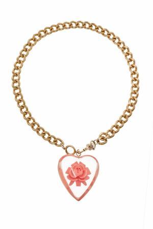Винтажная цепочка с кулоном (90-е) Betsey Johnson. Цвет: розовый