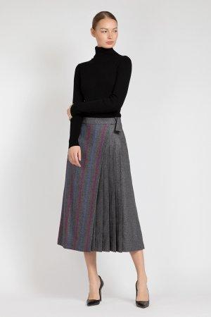 Расклешенная юбка миди с асимметричной вставкой VASSA&Co. Цвет: серый