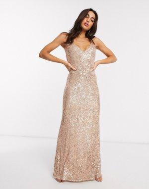 Розово-золотистое платье макси на бретельках с пайетками -Золотистый Goddiva