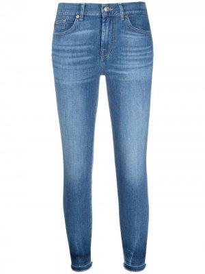 Укороченные джинсы скинни средней посадки 7 For All Mankind. Цвет: синий