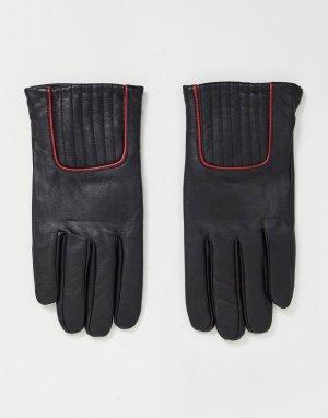 Черные кожаные перчатки с красной окантовкой -Черный цвет ASOS DESIGN