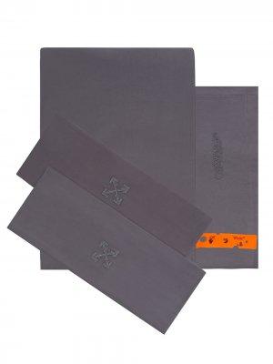 Двуспальный комплект постельного белья с вышитым логотипом Off-White. Цвет: серый