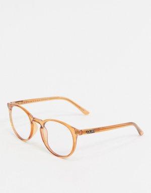 Круглые очки в коричневой оправе с защитой от синего света экранов -Коричневый Quay Australia