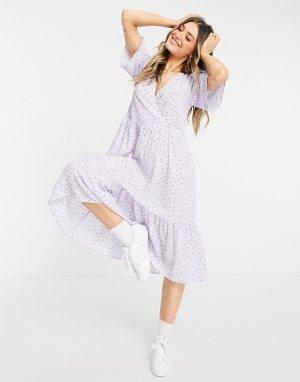 Сиреневое платье миди с запахом и цветочным принтом из переработанного материала Sandy-Фиолетовый цвет Monki