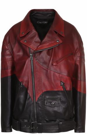 Кожаная куртка свободного кроя с косой молнией Tom Ford. Цвет: красный