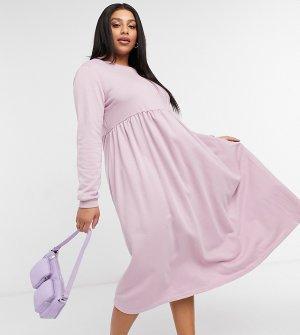 Розовое платье-свитер макси с присборенной юбкой -Розовый цвет Urban Threads Curve