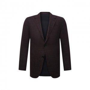 Пиджак из шерсти и шелка Ermenegildo Zegna. Цвет: бордовый