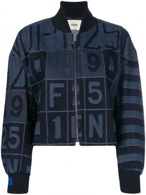 Джинсовая куртка-бомбер Fendi. Цвет: синий