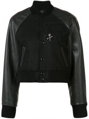 Укороченная куртка-бомбер R13. Цвет: чёрный
