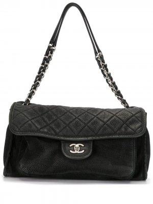 Большая сумка с клапаном Chanel Pre-Owned. Цвет: черный