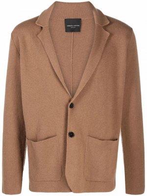 Однобортный пиджак Roberto Collina. Цвет: коричневый