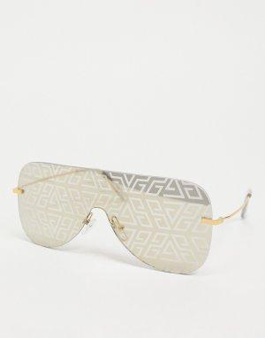 Солнцезащитные очки-авиаторы без оправы с дымчатыми стеклами и выцветшим принтом -Золотистый ASOS DESIGN