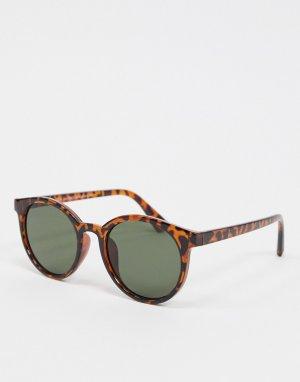 Коричневые солнцезащитные очки в круглой оправе -Коричневый New Look