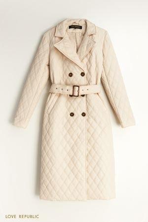 Стеганное пальто с поясом LOVE REPUBLIC