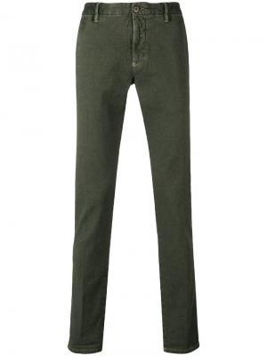Брюки-чинос узкого кроя Incotex. Цвет: зеленый