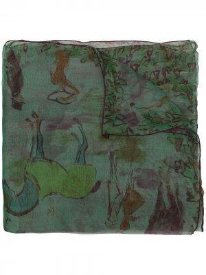 Платок pre-owned с принтом Hermès. Цвет: зеленый