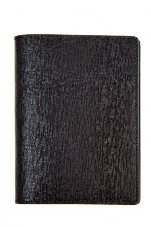 Черная обложка на паспорт из кожи Canali. Цвет: черный